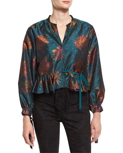 Floral Godet-Edge Peplum Jacket, Teal