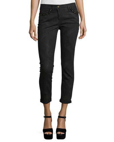 Studded Paisley Skinny Jeans, Black/Brown