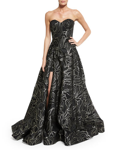 Strapless Sweetheart-Neck Ball Gown, Black/Gold