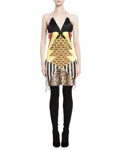 Winged-Bust Mixed-Media Slip Dress, Multi