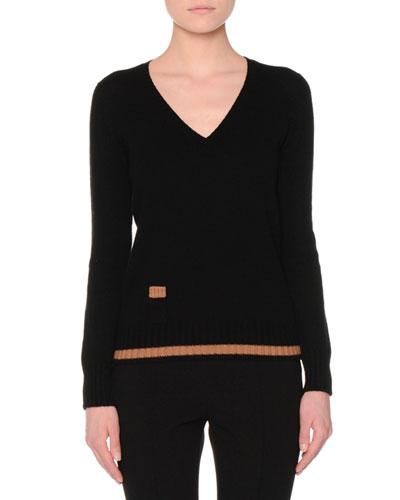 Long-Sleeve V-Neck Lipstick Sweater, Black