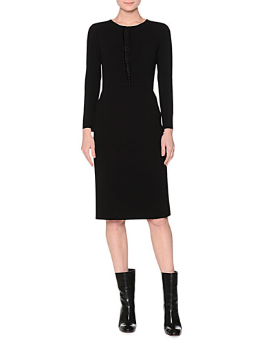 Long-Sleeve Ruffle-Front Dress, Black