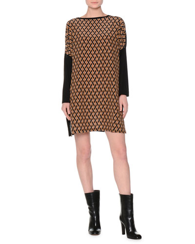 Printed Dropped Long-Sleeve Dress, Black/Camel