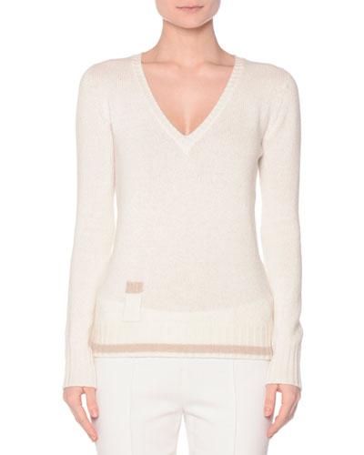 V-Neck Contrast-Hem Sweater, Ivory