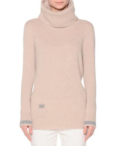 Contrast-Trim Cowl-Neck Sweater, Marmo/Grigio