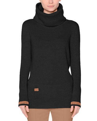 Contrast-Trim Cowl-Neck Cashmere Sweater, Black/Tobacco