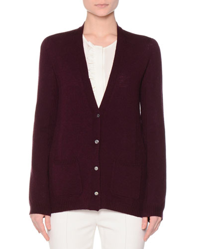 Button-Front Slim-Fit Cardigan, Amethyst