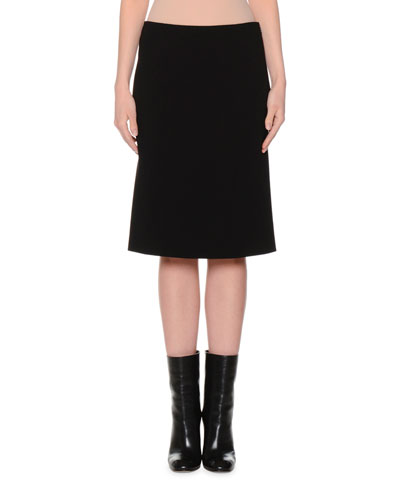 Mid-Rise Pencil Skirt, Black