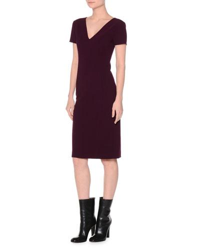 Short-Sleeve Stretch-Wool Sheath Dress, Black