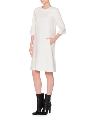 Bell-Sleeve Shift Dress, Ivory