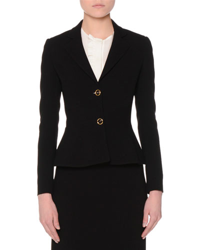 Two-Button Fitted Peplum Jacket, Black