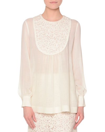 Romantic Embroidery Semisheer Blouse, Ivory