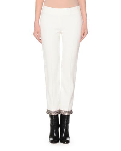 Skinny Cropped Pants W/Beaded Hem, Ivory