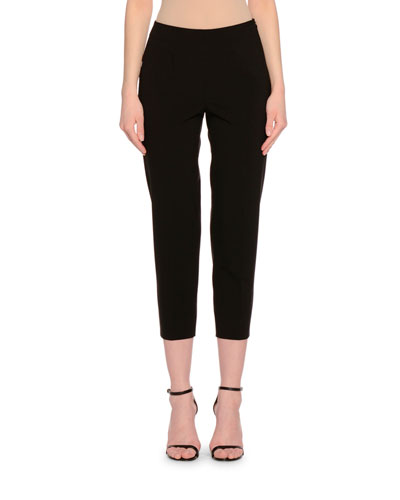 Side-Zip Skinny Cropped Pants, Black