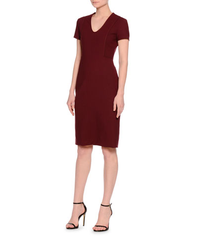 Short-Sleeve U-Neck Sheath Dress, Burgundy