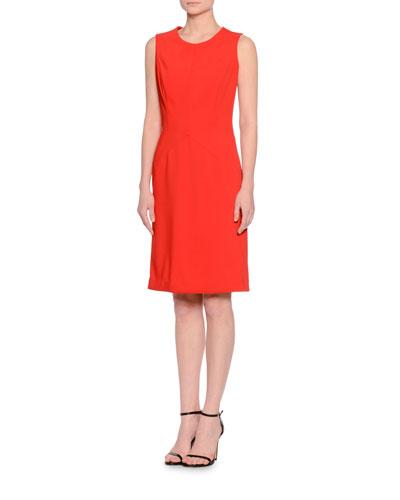 Seamed Sleeveless Sheath Dress, Red