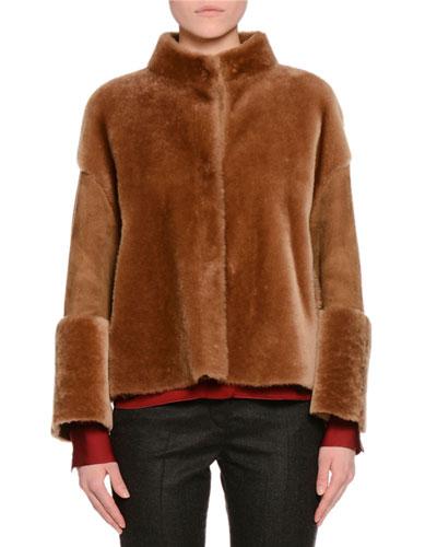 Shearling Fur Reversible Short Jacket, Camel