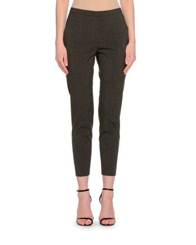 Laura Slim-Fit Ankle Pants, Gray/Navy