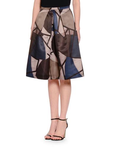 Delaunay-Print High-Waist A-Line Skirt, Navy
