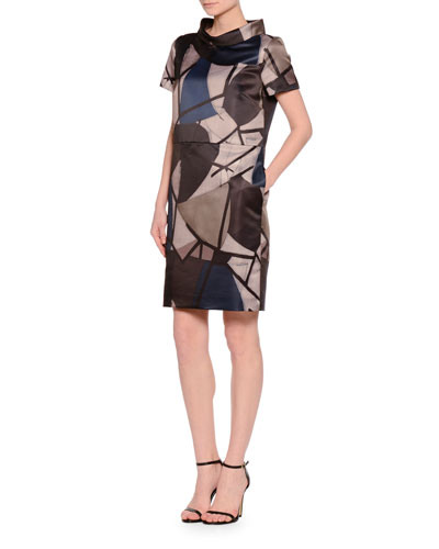 Audrey Funnel-Neck Delaunay-Print Dress, Navy