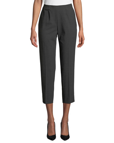 Side-Zip Skinny Cropped Pants, Gray