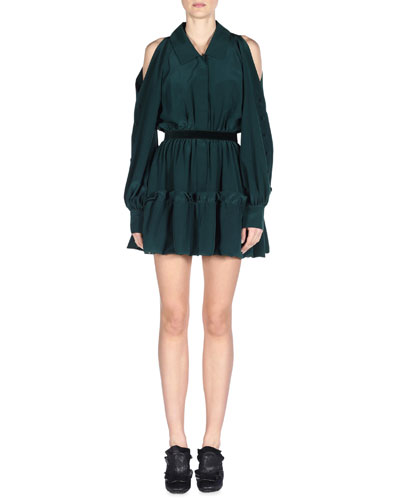 Cold-Shoulder Flounce-Hem Shirtdress, Malachite