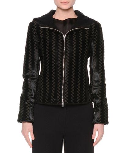 Hooded Zip-Front Chevron Jacket, Black