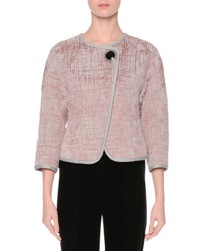 3/4-Sleeve Short Boucle Jacket, Rose/Winter Sky