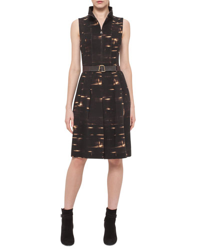 Sleeveless Gnu-Print Belted Dress, Date