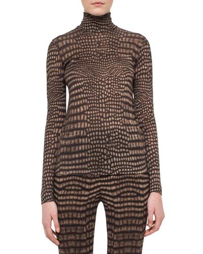 Cheetah-Print Turtleneck Sweater, Date/Steppe