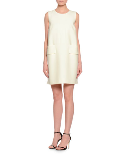 Sleeveless Round-Neck Couture Dress, Ivory/Black