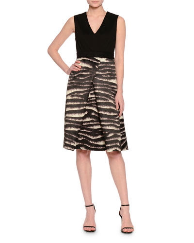 Sleeveless V-Neck Dress W/Animal-Print Skirt, Black
