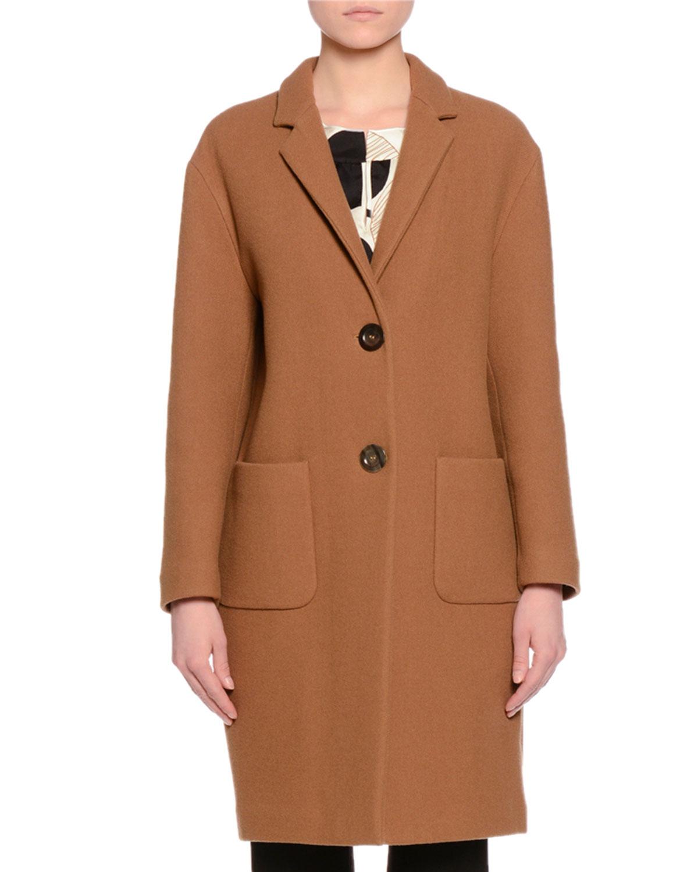Two-Button Melton Coat, Camel