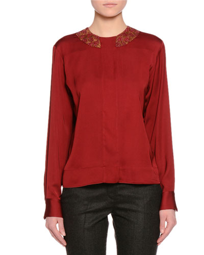 Floral-Embellished Jewel-Neck Blouse, Red