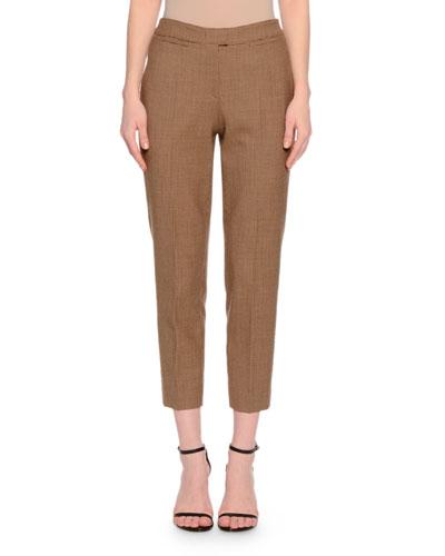 Bridgitte Check Cropped Pants, Cognac