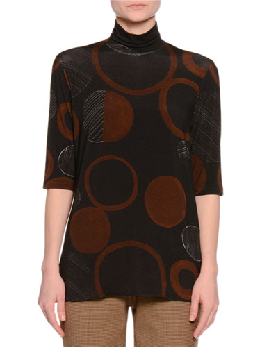 Half-Sleeve Funnel-Neck Sweater, Gray/Cognac