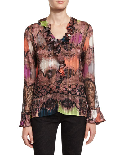 Paisley Ruffled-Trim Blouse, Pink