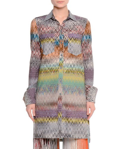Crazy Patchwork Button-Front Tunic, Blue/Multi