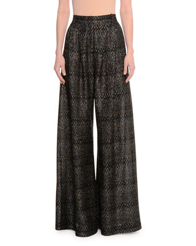 Wide-Leg Shimmery Pants, Black Metallic