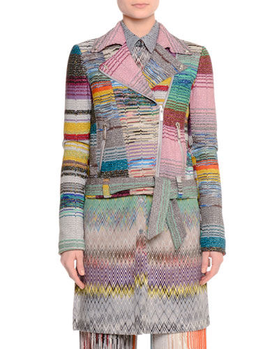 Crazy Patchwork Zip-Front Moto Jacket, Multi Colors