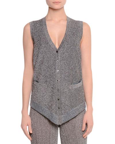 Button-Front Metallic Vest W/Pockets, Silver