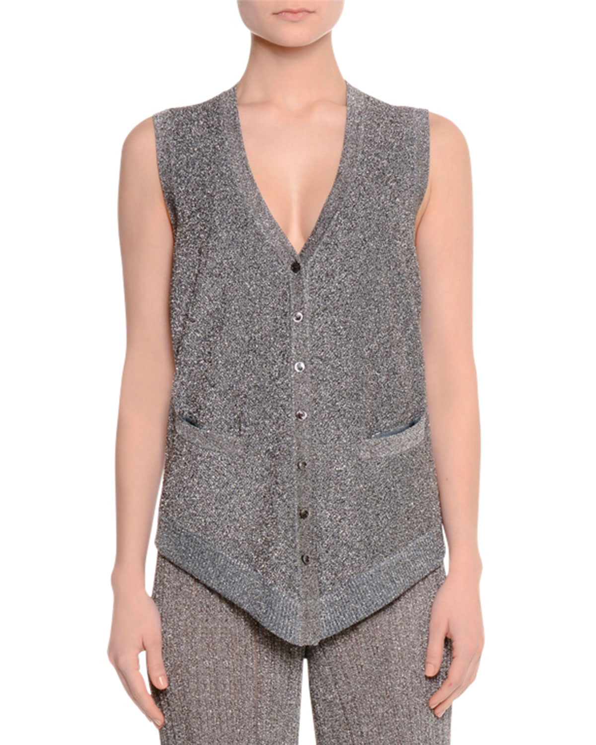 Button-Front Metallic Vest W/Pockets, Silver