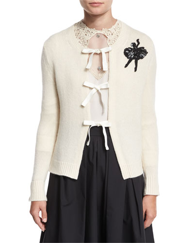 Cashmere Tie-Front Sweater w/Ballerina Applique, Ivory