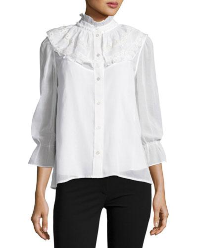 Poplin Blouse w/Lace Collar, White