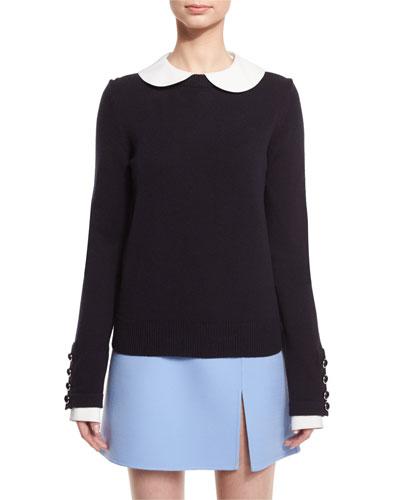 Cashmere Button-Cuff Sweater, Navy