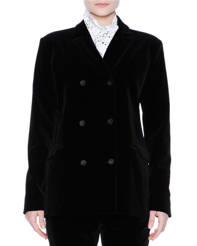 Double-Breasted Sporty Velvet Jacket, Black