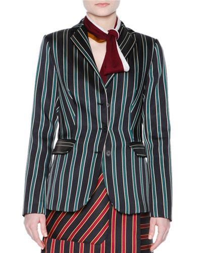 Striped Three-Button Jacket, Black/Sage
