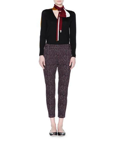 Long-Sleeve Colorblock Tie-Neck Top, Black/Multi