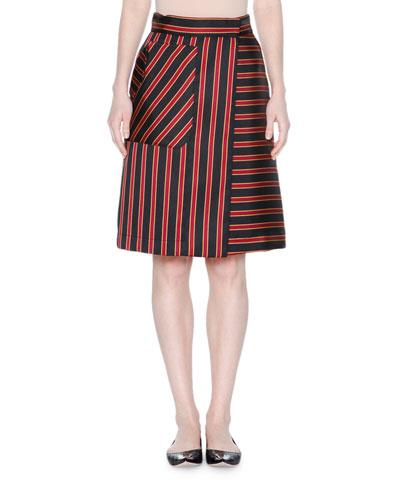 High-Waist Striped A-Line Skirt, Black/Raspberry