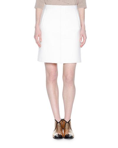 High-Waist A-Line Skirt, Chalk